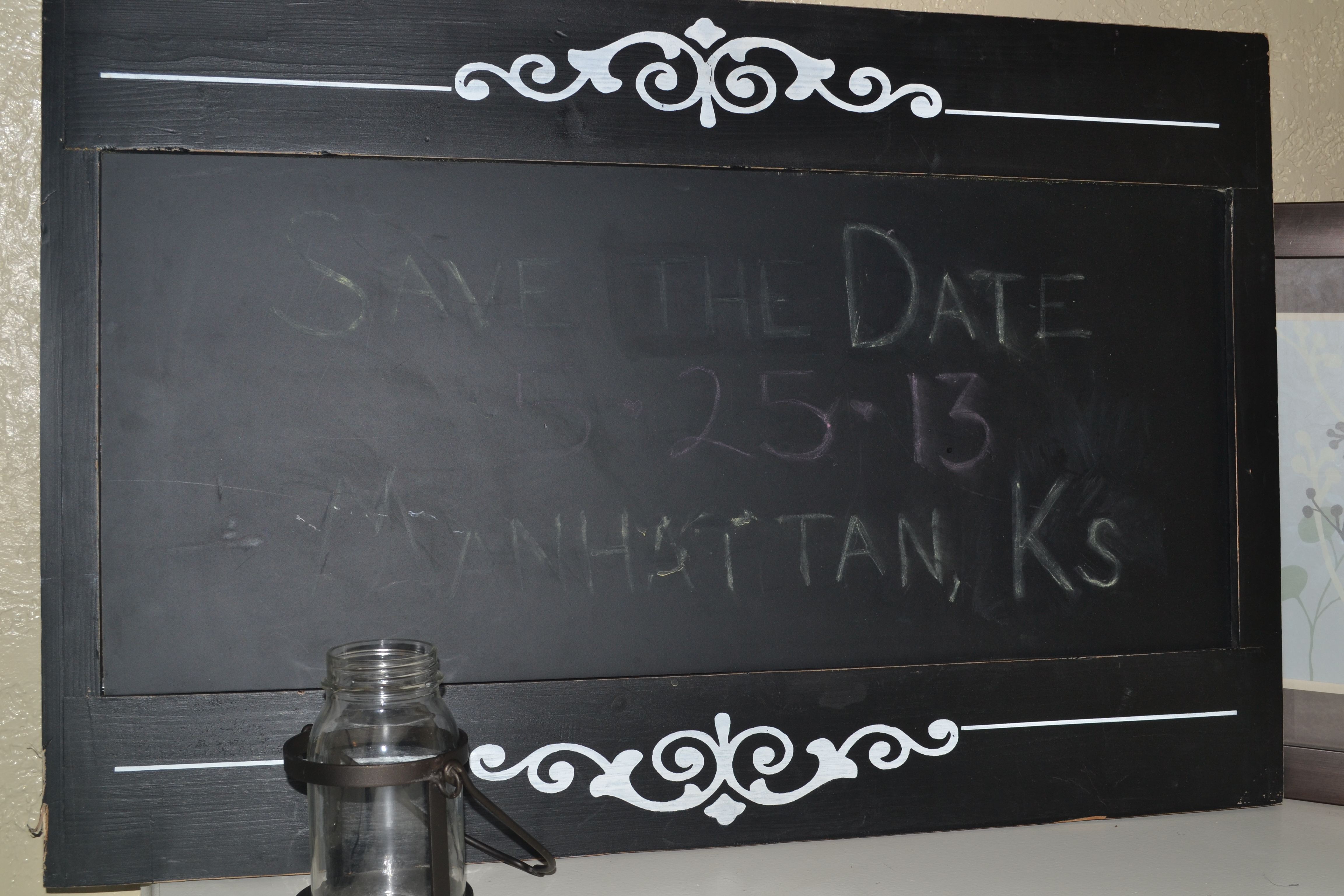 a large chalkboard picture frame for 200 retail price stilll attached for 5999 via hobby lobby from gorgeous
